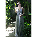 Sheath/ Column V-neck Floor-length Satin Ready-to-Wear Evening/ Prom Dress