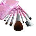 New 7 Pcs Persian Cat Hair Makeup Brush Set with Free Black Case(Five Colors)(0517-039)