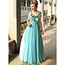 Sheath/ Column Scoop Floor-length Chiffon Satin Silk Ready-to-Wear Evening/ Prom Dress