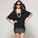 Tassel Irregular Hem Round Neckline With Sequin Vest Two-pieces T-shirt / Women's T-shirts (FF-F-CC11333003)