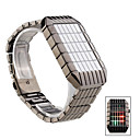 LED Green Red Blue Light Stainless Steel Wrist Watch Black