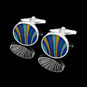 Round Zinc Alloy Cufflinks Groom Wear Accessories