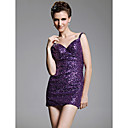 Sheath/ Column V-neck  Short/ Mini  Sleeveless Sequined Fabric Cocktail Dress