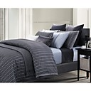 Yarn-dyed Cotton Satin Pinstripe 3-piece Queen-size Duvet Cover Set