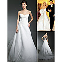 Lace Over Satin A-line Sweetheart Court Train Wedding Dress inspired by Jessica Simpson (WSM0455)