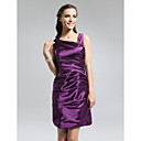 Sheath/ Column V-neck Short/ Mini Stretch Satin Bridesmaid Dress