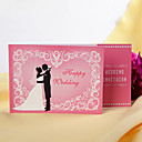 Romantic Bride &amp; Groom Pink  Folded Wedding Invitation (Set of 60)