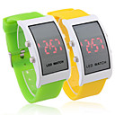 Pair of Soft Silicone Wristband Red LED Wrist Watch - Yellow & Green