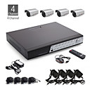 4-Kanal CCTV-Kit + 4pcs dunkelgrau wasserdichte Kamera mit 36pcs LED + 500GB HDD