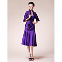 Trumpet/Mermaid Strapless Knee-length Taffeta Mother of the Bride Dress With A Wrap