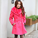 TS Pink Fur Trimmed Pea Coat