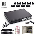 16ch cctv kit + 16pcs 15m zwart dome camera + 1TB hdd gratis