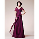 A-line V-neck Short Sleeve Floor-length Chiffon Mother of the Bride Dress