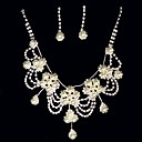 Rhinestone & Freshwater Pearl In 925 Silver Necklace & Earring Set