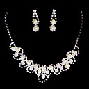 White Rhinestone/ Freshwater Pearls And Silver Necklace And Earrings Jewelry Set