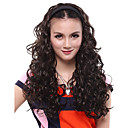 Capless Long Curly Black 3/4 Synthetic Wig