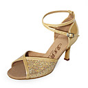 desempenho dourado brilho leatherette / espumante superior sapatos de dana sapatos para mulheres latinas