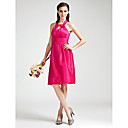 Sheath/Column Halter  Knee-length  Taffeta Bridesmaid Dress