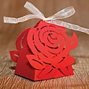 Laser Cut Red Rose Favor Box With Ribbon (Set of 12)