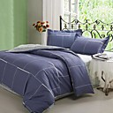 Elegant Solid Check Full 4-piece Duvet Cover Set