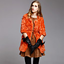 Collarless 3/4 Sleeve Rex Rabbit Fur Evening Coat With Pockets/Belt (More Colors)