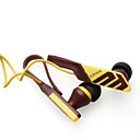 Noise Isolation In-Ear Stereo Earphones Yellow+Brown(3.5mm Jack/112cm Cable)