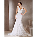 Trumpet/ Mermaid V-neck Sweep/ Brush Train Lace Wedding Dress