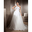 A-line One Shoulder Sweep/ Brush Train Organza Satin Wedding Dress