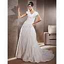 A-line V-neck Short Sleeves Chapel Train Taffeta Wedding Dress
