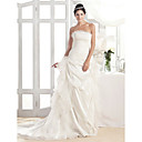 A-line Strapless Court Train Organza And Taffeta Wedding Dress