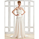 Sheath/Column Sweetheart Sweep/Brush Train Elastic Silk-like Satin Wedding Dress