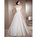 A-line Scoop Neck Floor-length Chiffon And Satin Wedding Dress