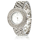 Rhinestone Studded Japanese Quartz Round Face Women's Watch