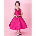 A-line V-neck Tea-length Taffeta Flower Girl Dress
