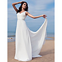 Sheath/Column V-neck Floor-length Chiffon Wedding Dress With Removable Train