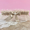 Champagne Satin And Lace Garter with Organza Bow