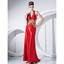 Sheath/Column Halter Sweep/Brush Train Polyester And Tulle Evening Dress