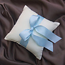 Classic White Satin With Baby Blue Ring Pillow
