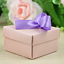 Pink Rose Embossed Favor Box With Ribbon Bow (Set of 12)