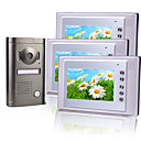 Three 7 Inch Color TFT LCD Intercom System with Alloy Weatherproof Camera