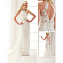 Sheath/ Column Halter Lace Wedding Dress With Removable Watteau Train