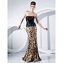 Trumpet/Mermaid Strapless Sweep/Brush Train Lace Over Charmeuse Evening Dress
