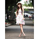 Cute Cotton Sheath/Column Halter Sundress