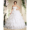Gorgeous Organza Sweetheart Ruffled Ball Gown Wedding Dress