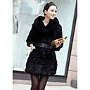Half Sleeve Rabbit Fur Party Coat With Shawl Collar And Flower(s) (More Colors)