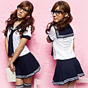 School Girl Black Polyester Sailor Suit with Caravat (3 Pieces)