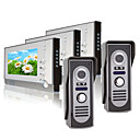 Three 7 Inch Color TFT LCD Video Door Phone Intercom System (2 Waterproof Camera)