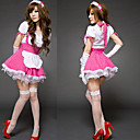 Cute Girl Polka Dots Pink Polyester Maid Suit (3 Pieces)