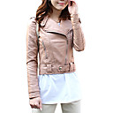 Turndown Collar Long Sleeve Party/ Office/ Casual PU Jacket With Pockets (More Colors)