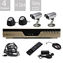 entry-level all-in-een 4ch dvr kit met 4 sony camera's (H.264, VGA, netwerk)